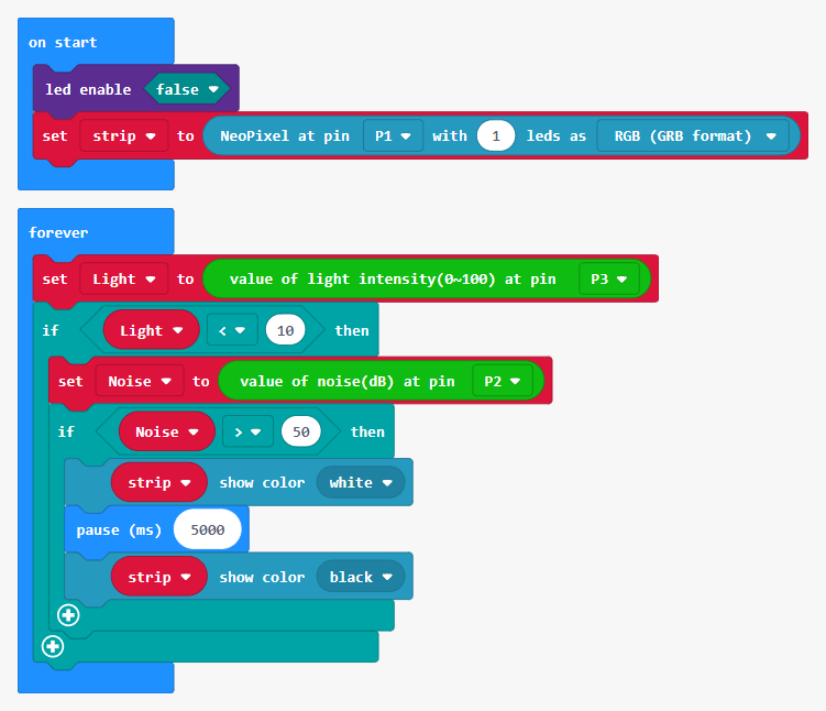 MakeCode Voice Activated Lights